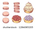 set of delicious hand drawn... | Shutterstock .eps vector #1286085205