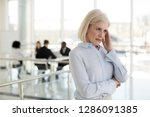 unhappy aged business woman...   Shutterstock . vector #1286091385
