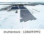 solar power plant  winter view | Shutterstock . vector #1286093992