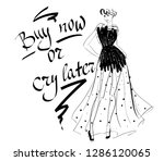 outline sketch of woman in long ...   Shutterstock .eps vector #1286120065