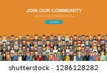 join our community. crowd of... | Shutterstock .eps vector #1286128282