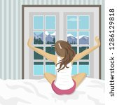 woman stretching in bed after... | Shutterstock .eps vector #1286129818