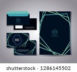 set of business card with lines ... | Shutterstock .eps vector #1286145502