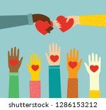 share your love. hands with... | Shutterstock .eps vector #1286153212