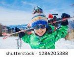 portrait of cute happy skier...   Shutterstock . vector #1286205388