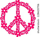 Peace Symbol With Flowers  ...