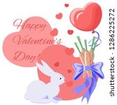 Stock vector a card for valentine s day a hare and a gift for him a bouquet of carrots as a gift a favorite 1286225272