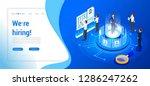 isometric hiring  recruitment... | Shutterstock .eps vector #1286247262