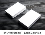 business card blank on wooden... | Shutterstock . vector #1286255485