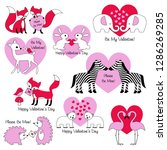 valentines day animals with... | Shutterstock .eps vector #1286269285