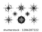 compass  wind rose icon set.... | Shutterstock .eps vector #1286287222