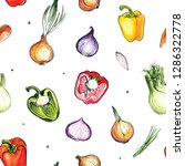 pattern of vegetables drawn... | Shutterstock . vector #1286322778