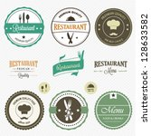 restaurant labels set | Shutterstock .eps vector #128633582