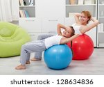 Girls exercising - healthy life education concept - stock photo