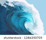Realistic Sea Big Wave With...