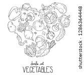 heart shape of fresh vegetables.... | Shutterstock .eps vector #1286364448