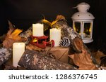 fireplace decorated with trunks ... | Shutterstock . vector #1286376745