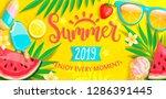 summer banner with symbols for... | Shutterstock .eps vector #1286391445