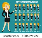 cute business woman with golden ... | Shutterstock .eps vector #1286391922