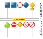 flat road signs set. traffic... | Shutterstock .eps vector #1286402272