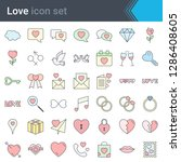 stroke love icons isolated on... | Shutterstock .eps vector #1286408605