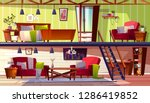 loft lounge or two storey room... | Shutterstock . vector #1286419852
