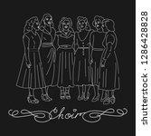 woman choir singing. group of... | Shutterstock .eps vector #1286428828
