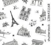 seamless pattern paris city... | Shutterstock .eps vector #1286431168