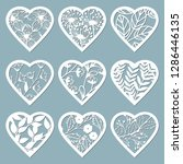 set stencil hearts with flower. ... | Shutterstock .eps vector #1286446135