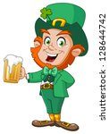leprechaun with beer | Shutterstock .eps vector #128644742
