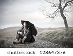 businessman sitting on the... | Shutterstock . vector #128647376