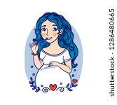 pretty blue hair pregnant woman ...   Shutterstock .eps vector #1286480665