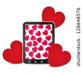 hearts and tablet pc | Shutterstock . vector #128648576