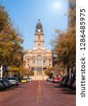 Small photo of Historic Tarrant County Courthouse in Fort Worth, Texas. Street view on a sunny autumn day.