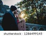 man kissing woman. blonde woman ... | Shutterstock . vector #1286499145