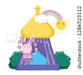cute circus rabbit with layer... | Shutterstock .eps vector #1286523112