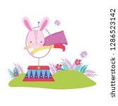 cute circus rabbit jumping fire ... | Shutterstock .eps vector #1286523142