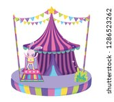cute circus rabbit with layer... | Shutterstock .eps vector #1286523262