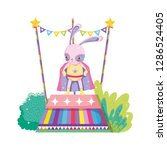 cute circus rabbit with layer... | Shutterstock .eps vector #1286524405