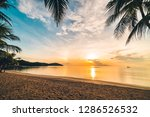 at sunset time on the tropical... | Shutterstock . vector #1286526532