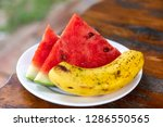 watermelon and banana on the... | Shutterstock . vector #1286550565