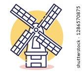 travel and destination windmill ... | Shutterstock .eps vector #1286570875