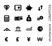 finance icon set black and white | Shutterstock .eps vector #128659226