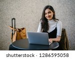 a beautiful and young indian...   Shutterstock . vector #1286595058