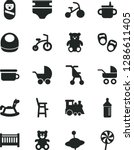 solid black vector icon set  ... | Shutterstock .eps vector #1286611405
