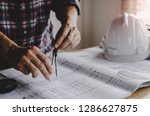 hand professional architect ... | Shutterstock . vector #1286627875