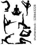 Set Of Yoga Silhouette . Vecto...