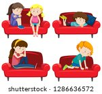 set of depressed kids on couch... | Shutterstock .eps vector #1286636572