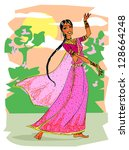 indian dancing woman  hand... | Shutterstock .eps vector #128664248