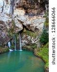 sanctuary of covadonga ...   Shutterstock . vector #128666066